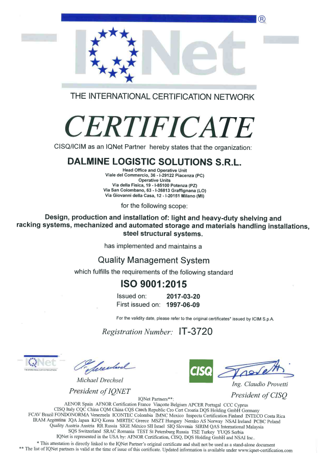 Design and installation certificate