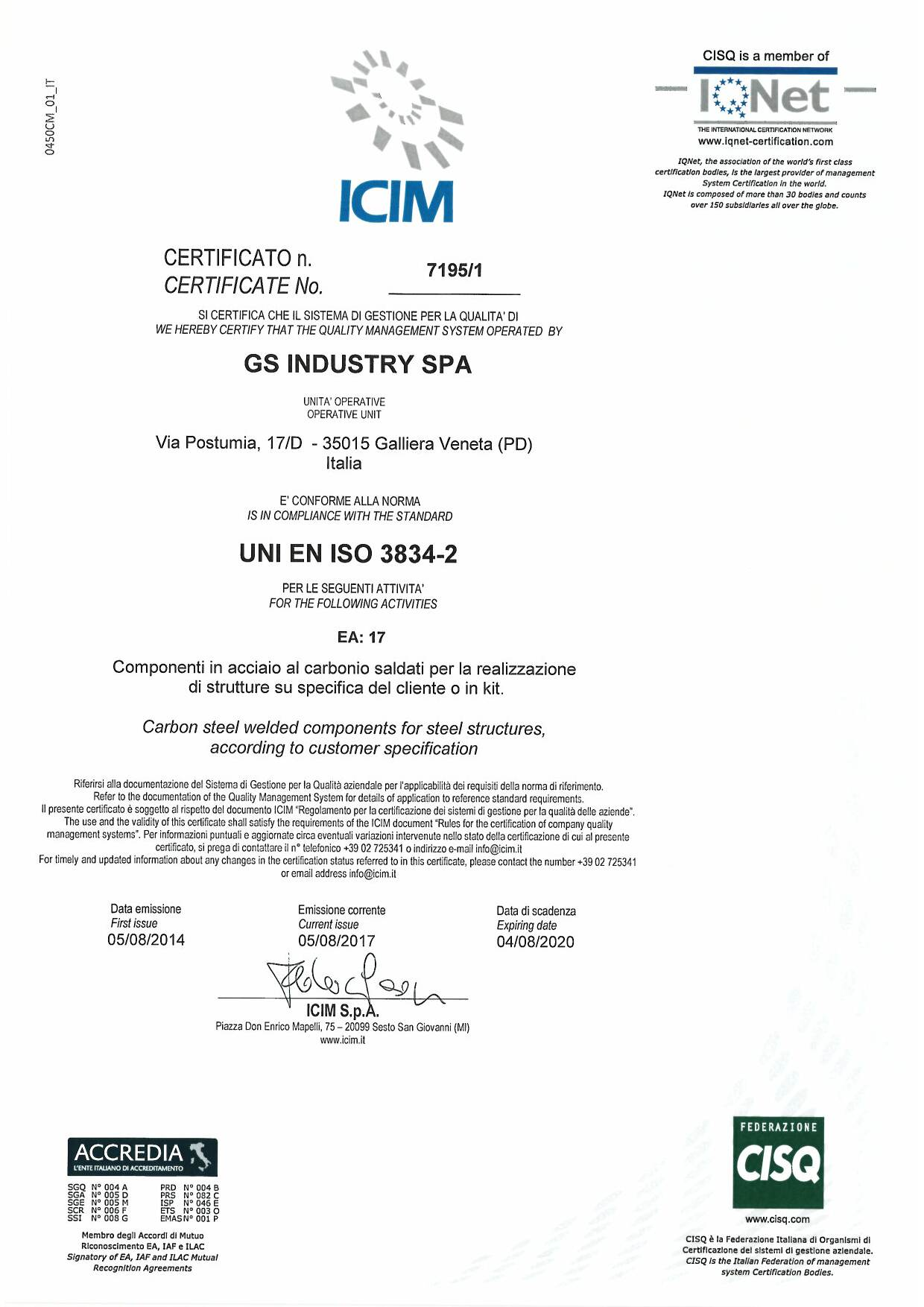 Certificate of quality - GS Industry